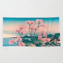 Spring Picnic under Cherry Tree Flowers, with Mount Fuji background Beach Towel
