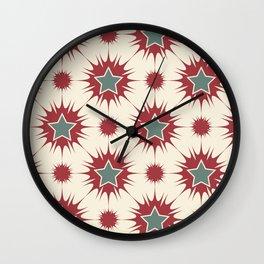 Retro Christmas Stars Wall Clock