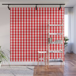Large Christmas Red and White Gingham Check Plaid Wall Mural