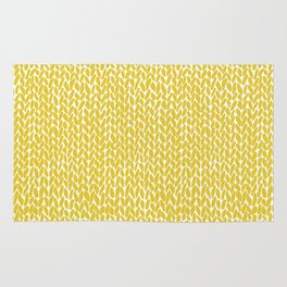 Hand Knit Yellow Rug