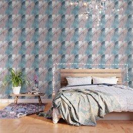 Calming Pastel Flow- Blush, grey and blue Wallpaper