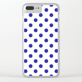 Polka Dots (Navy & White Pattern) Clear iPhone Case