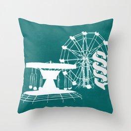 Seaside Fair in Turquoise Throw Pillow