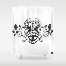 SKULL FLOWER 03 Shower Curtain