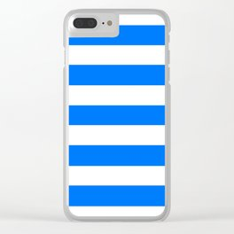 Brandeis blue - solid color - white stripes pattern Clear iPhone Case