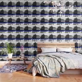 Distressed Thin Blue Line American Flag Wallpaper