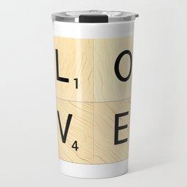 LOVE - Scrabble Letter Tiles Art Travel Mug