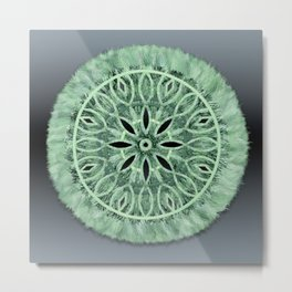 Mint Green 3D Faux Embroidery Metal Print