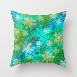 Blobs and Splats Comic Op-Art Aqua Yellow Throw Pillow