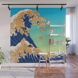 Shiba Inu in Great Wave Wall Mural