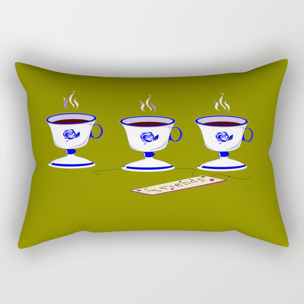 Coffee With Friends In Vintage Porcelain Cups Rectangular Pillow RPW9041472