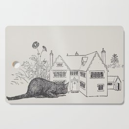 Johnny Crow's garden a picture book - L. Leslie Brooke - 1903 vintage Line Drawing Cat House Cutting Board