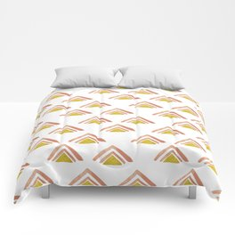 Pink and Yellow Boho Triangles Comforters