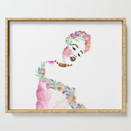 Flowered woman 2 Serving Tray