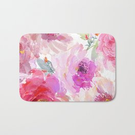 Big Watercolor Flowers in Violet and Pink Bath Mat