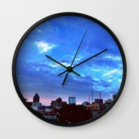 atlanta Wall Clocks featuring Atlanta.  by calvin./CHANCE