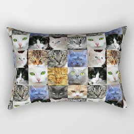 Cat Face Collage Rectangular Pillow
