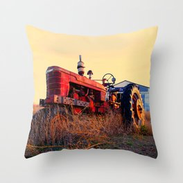old tractor red machine vintage Throw Pillow