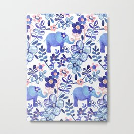 Pale Coral, White and Purple Elephant and Floral Watercolor Pattern Metal Print