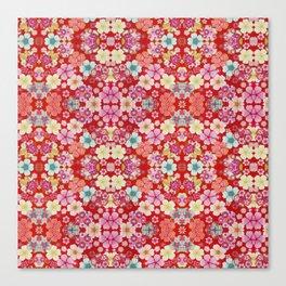Crimson Floral Chirimen Canvas Print