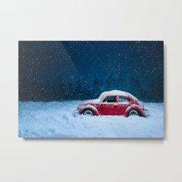 Winter Toy Car Metal Print