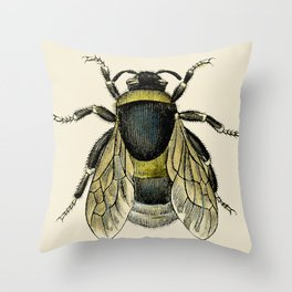 Vintage Bee Illustration Throw Pillow