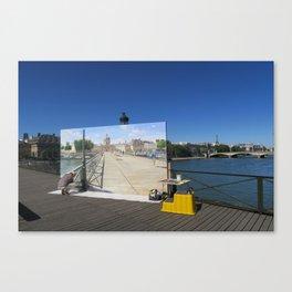 Painter On The Boardwalk (Seine, France) Canvas Print