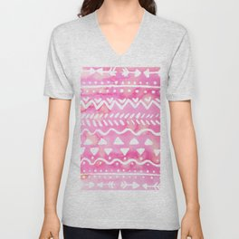 Loose boho chic pattern - pink Unisex V-Neck