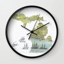 Ships Along the Shore - Michigan circa 1868 Wall Clock