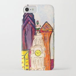 Philadelphia Skyline with Sports Teams: LOVE Statue, Phillie Phanatic, and Eagles iPhone Case