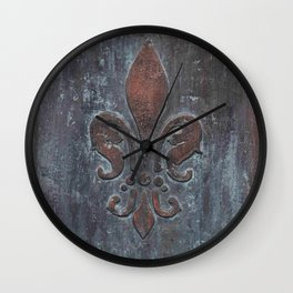 Fleur De Lis Patina Plaque - Original Art by Tracy Sayers Trombetta Wall Clock