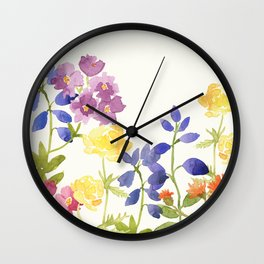 Scottish Wild Flowers Watercolor Painting Wall Clock