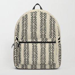 Mud Cloth - Black and White Arrowheads Backpack