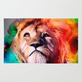 Colorful lion looking up Feathers Space Universe Rug