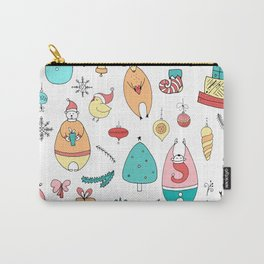 Cute Colorful Cartoon Christmas Animals Pattern Carry-All Pouch