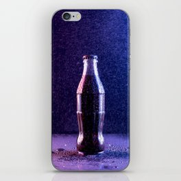 Glass bottle with carbonated drink under the drops of water iPhone Skin