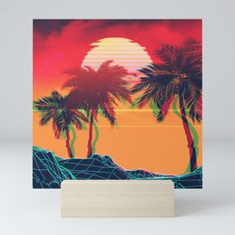 Vaporwave landscape with rocks and palms Mini Art Print