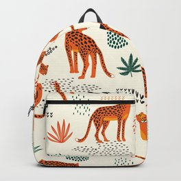 Seamless pattern with leopards Backpack