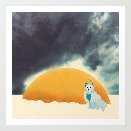 Arctic Fox Stumbles Upon A Meteorite Art Print