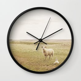 Farm Photography of Sheep Wall Clock