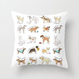 Breeds of Dog Throw Pillow