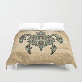 Vintage Teal Blue Haida Spirit Sea Turtle Duvet Cover