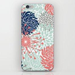 Floral Print - Coral Pink, Pale Aqua Blue, Gray, Navy iPhone Skin