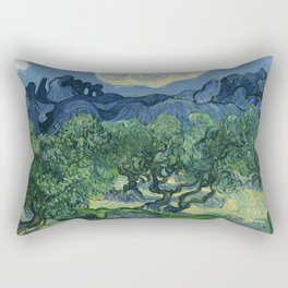"Vincent van Gogh ""Olive Trees with the Alpilles in the Background"" Rectangular Pillow"