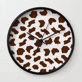 Brown Cow Spots Pattern Wall Clock