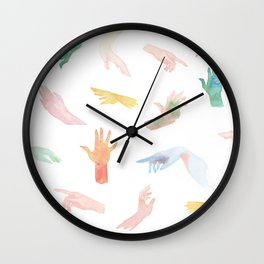Watercolor Hands Pattern Wall Clock