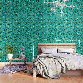 Mid Century Modern Teal Wallpaper