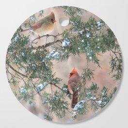 Winter Pair Cardinals (sq) Cutting Board