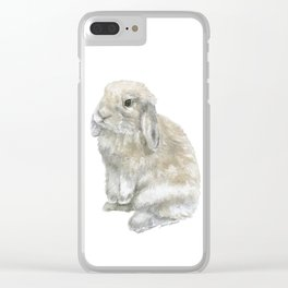 Lop Rabbit Watercolor Painting Bunny Clear iPhone Case