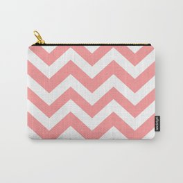 Light salmon pink - pink color - Zigzag Chevron Pattern Carry-All Pouch